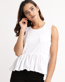 All About Eve Frill Hem Tank Top White