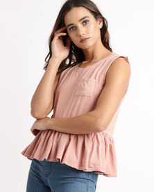 All About Eve Frill Hem Tank Top Blush