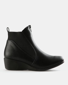 Carlo Bossi Gusset Wedge Boots Black