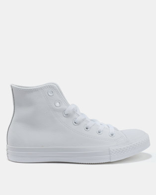 0568c2165889 Converse Chuck Taylor All Star Leather Hi Sneakers White Monochrome