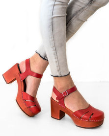 Swedish Hasbeens Baskemolla Heeled Sandals Red