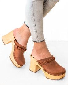 Swedish Hasbeens Clogs Platform Sandal Laila Cognac Brown