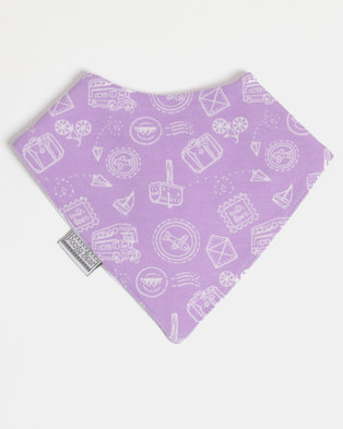 Poogy Bear Bandana Bib Lilac Travel