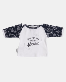 Poogy Bear You Are My Greatest Adventure LS Tee Navy Travel