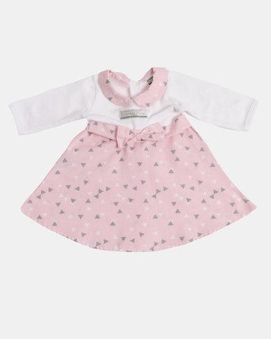 Poogy Bear Winter Dress Pink Triangles