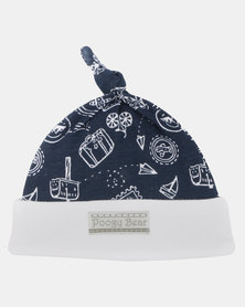 Poogy Bear Travel Beanie Top-Knot Navy Travel