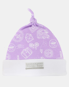 Poogy Bear Travel Beanie Top-Knot Lilac Travel