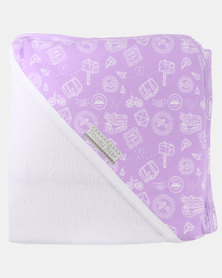 Poogy Bear Hooded Towel Lilac Travel