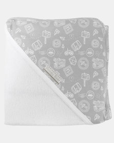Poogy Bear Hooded Towel Grey Travel