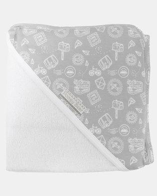 Poogy Bear Hooded Towel Grey Travel