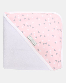 Poogy Bear Hooded Towel Pink Triangles