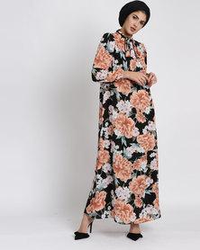 Seruna Eid Collection Floral Neck Tie Dress