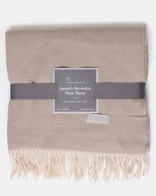 Haven and Earth Amanda Cotton Reversible Throw Neutral