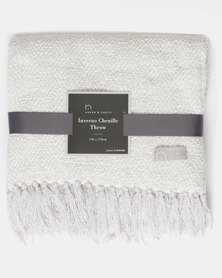 Haven and Earth Inverno Chenille Throw Silver