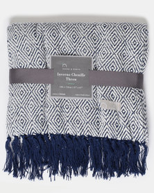 Haven and Earth Inverno Chenille Throw Blue