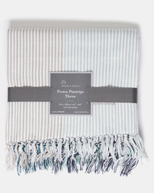 Haven and Earth Protea Pin Stripe Throw Green
