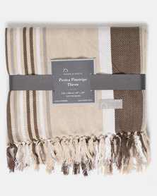 Haven and Earth Protea Pin Stripe Throw Brown