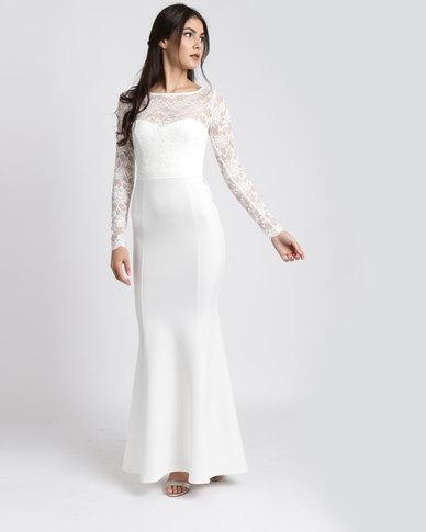 01f2130a0b City Goddess London Open Back Lace Maxi Wedding Dress with Bow Detail White    Zando