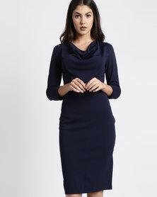 City Goddess London Cowl Neck Midi Dress Navy
