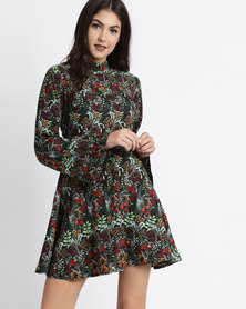 City Goddess London Floral Print Smock Mini Dress With High Neck Multi