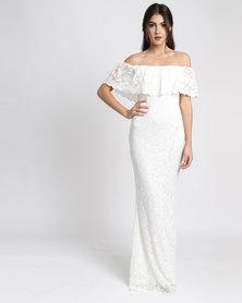 City Goddess London Bardot Lace Maxi Wedding Dress Cream