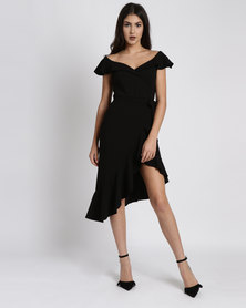 City Goddess London Asymmetric Frilled Hem Midi Dress Black