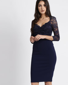 City Goddess London Half Sleeve Midi Dress With Sweetheart Neckline Navy