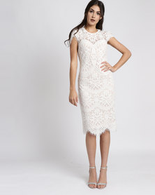City Goddess London Cap Sleeves Lace Midi Wedding Dress White