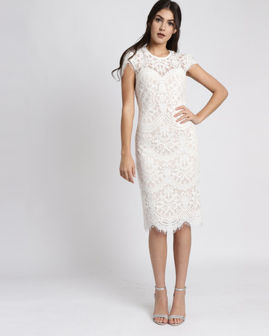 City Dess London Cap Sleeves Lace Midi Wedding Dress White