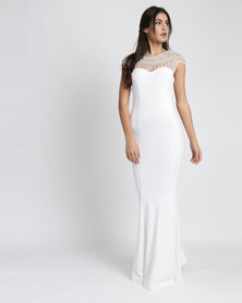City Goddess London Fishtail Maxi Dress With Embellished Neckline Wedding Dress White