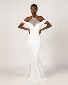 City Goddess London Embellished Halter Neck Cold Shoulder Wedding Maxi Dress