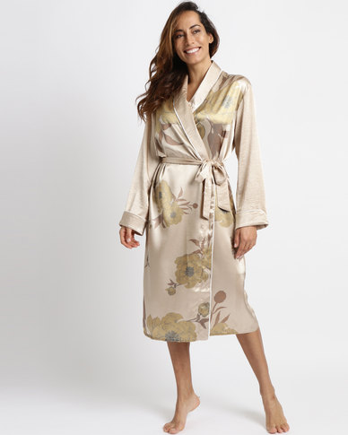 a7ce971cc7 Lila Rose Long Floral Printed Faux Satin Robe Gold