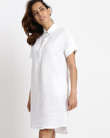 Lila Rose Linen Shirt Dress White