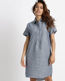 Lila Rose Linen Shirt Dress Navy