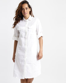 Lila Rose Linen With Lace Inset Shirt Dress White