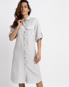 Lila Rose Linen With Lace Inset Shirt Dress Grey