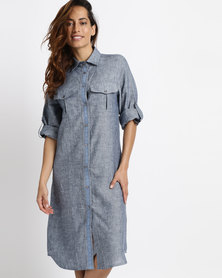 Lila Rose Linen With Lace Inset Shirt Dress Navy