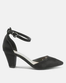 Bata Suede Pointy Ankle Strap Heels Black