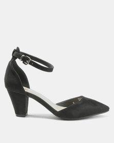 Bata Suede Pointy Ankle Strap Heels Black