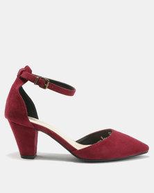 Bata Suede Pointy Ankle Strap Heels Burgundy