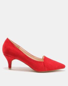Bata Suede Pointy Heels Red