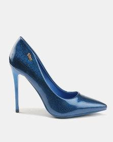 PLUM Shimmer Heels Blue