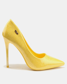 new styles cheap online PLUM PLUM Shimmer Heels Yellow discount official free shipping official cheap shop offer U7Qdse