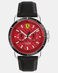 Ferrari Turbo Leather Strap Watch Black/Red