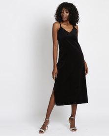 Jota-Kena Velvet Slip Dress Black