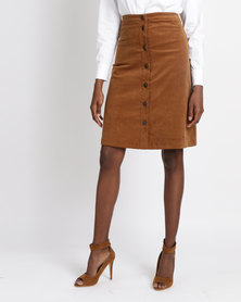 Jota-Kena Blair Button Skirt Brown