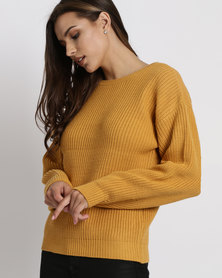New Look Lattice Back Balloon Sleeve Jumper  Mustard Yellow