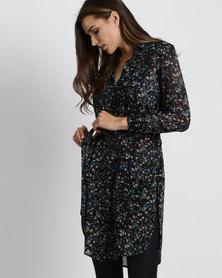 New Look Floral Chiffon Longline Shirt Black
