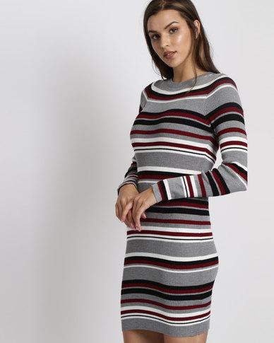 New Look Multi Stripe Ribbed Jumper Dress Grey