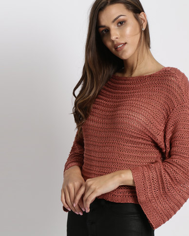 New Look Flare Sleeve Stripe Knit Jumper Coral